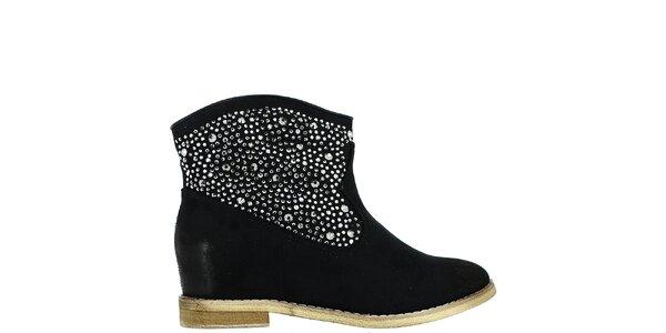 Dámské černé kotníkové boty s kamínky Bellucci