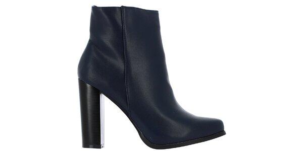 Dámské tmavě modré kotníčkové boty na podpatku Vanessa Wu