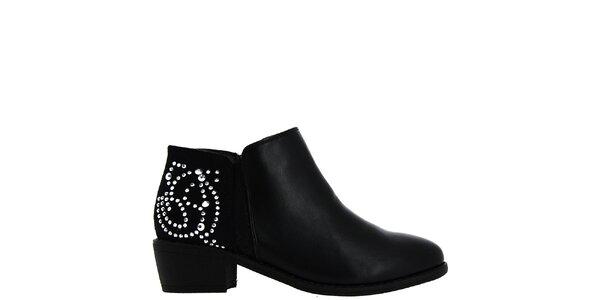 Dámské černé kotníčkové boty s kamínky Bellucci