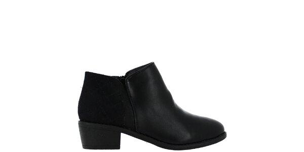 Dámské černé kotníčkové boty s prošívanou patou Bellucci