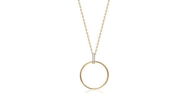 Dámský pozlacený náhrdelník s kulatým přívěskem Fifi Ange