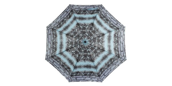 Dámský deštník s modro-černým potiskem Ferré Milano