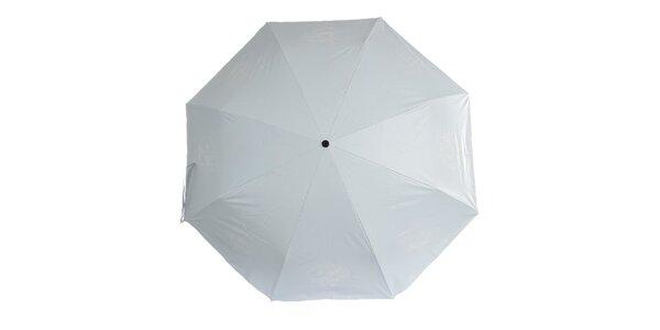 Dámský černo-bílý skládací deštník Ferré Milano s vzorovaným vnitřkem