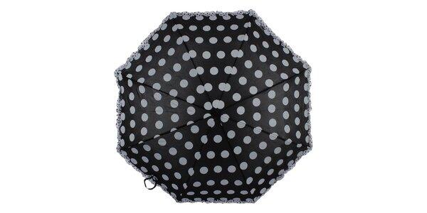 Dámský černý skládací deštník s bílými puntíky a volánkem Ferré Milano