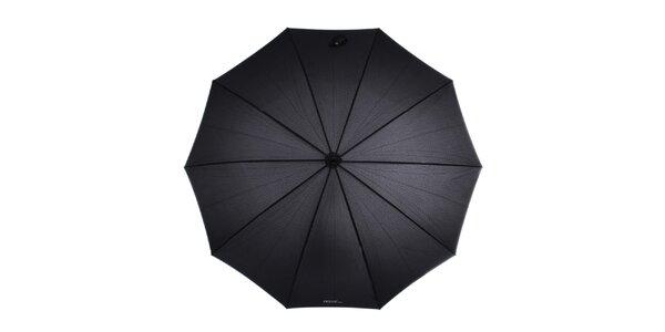 Dámský černý vystřelovací deštník s bambusovou rukojetí Ferré Milano