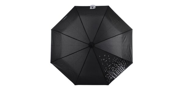 Dámský černý skládací deštník s bílým nápisem Ferré Milano