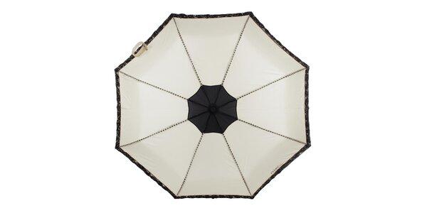 Dámský béžový skládací deštník s černými růžičkami Ferré Milano