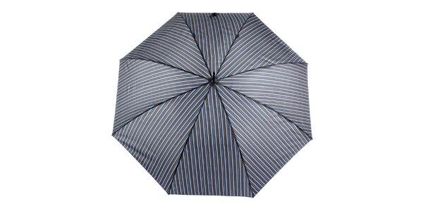 Pánský šedo-modrý pruhovaný vystřelovací deštník s proužkem Ferré Milano