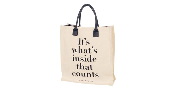 Dámská béžová taška s nápisem Tommy Hilfiger