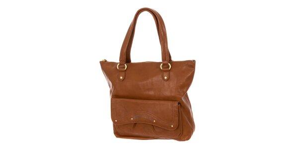 Dámská hnědá kabelka s vnější kapsou Tommy Hilfiger