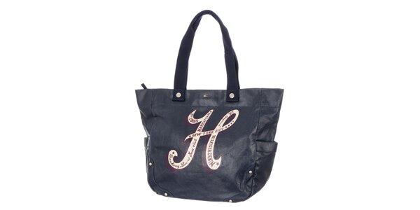 Dámská temně modrá kabelka s potiskem Tommy Hilfiger