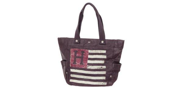 Dámská fialová kabelka s potiskem Tommy Hilfiger
