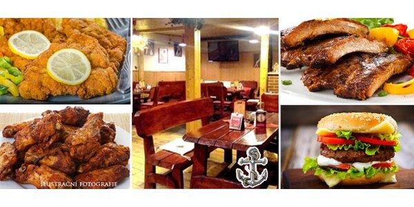 Skvělá kuřecí křidélka, pečená žebra, hamburger nebo mini řízečky v restauraci…