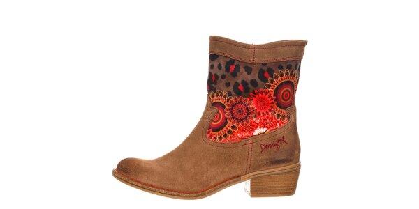 Dámské hnědé boty s oranžovými detaily Desigual