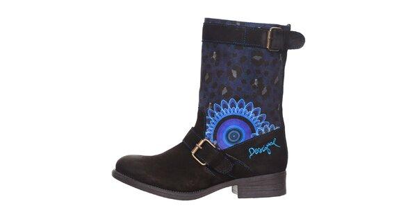 Dámské modro-černé boty s leopardím a květinovým vzorem Desigual