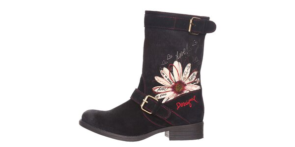 Dámské černé boty s květinovým vzorem Desigual