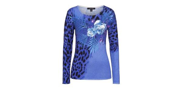 Dámský modrý svetr s leopardím vzorem a květy Imagini