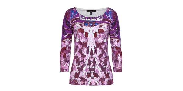 Dámský fialový svetr s elegantním vzorem Imagini
