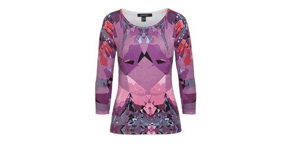 Dámský fialový vzorovaný svetr s 3/4 rukávem Imagini