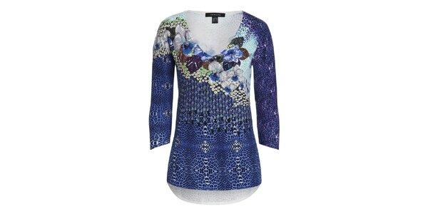 Dámský modrý svetřík s barevným vzorem Imagini