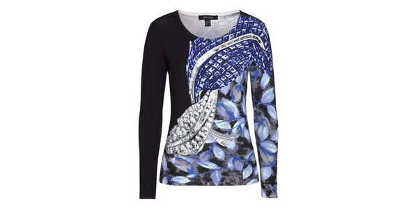 Dámský černý svetřík s modrým vzorem Imagini