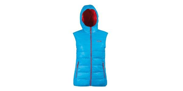 Dámská péřová tyrkysová vesta s kapucí Izas