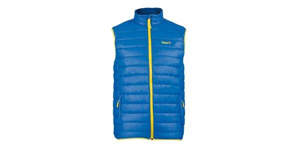 Pánská modrá prošívaná vesta se žlutými prvky Izas