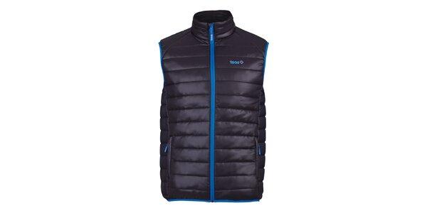 Pánská černá prošívaná vesta se modrými prvky Izas