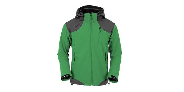Pánská zeleno-šedá funkční bunda s kapucí Izas