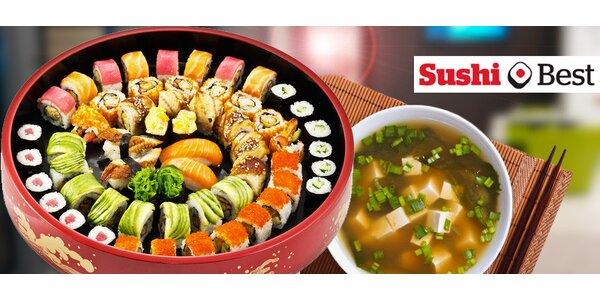 30 kousků sushi + 2x miso polévka v Sushi Best