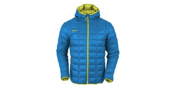 Pánská modrá prošívaná bunda s kontrastním zipem Izas
