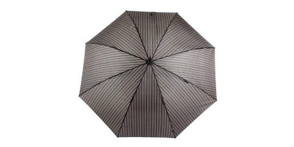 Pánský hnědý pruhovaný vystřelovací deštník s proužkem Ferré Milano