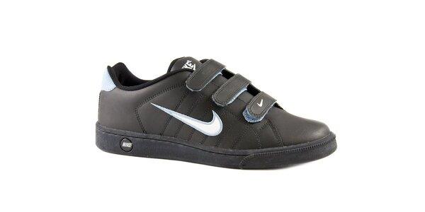 Pánské černé kožené tenisky Nike s bílým logem