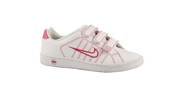Dámské bílé kožené tenisky Nike s růžovými detaily