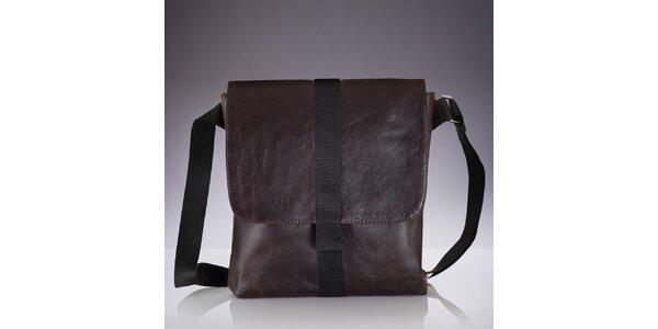 Pánská hnědá kožená crossbody taška Solier c939c81562b