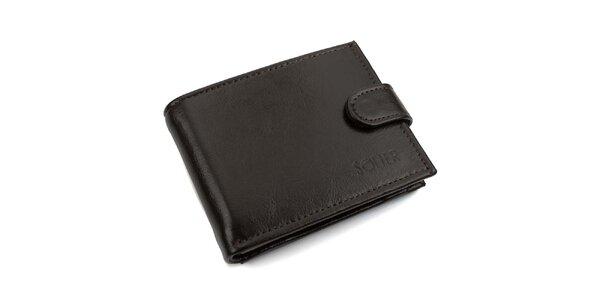 Pánská tmavě hnědá kožená peněženka s přezkou Solier