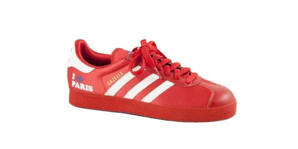 Dámské červené tenisky Adidas s bílými proužky