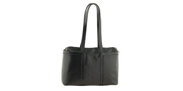 Dámská černá kožená kabelka na zip Tina Panicucci
