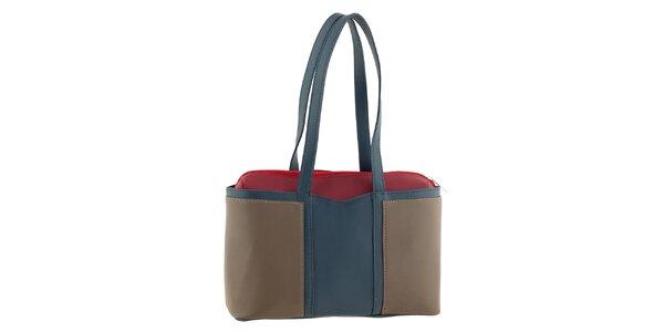 Dámská tříbarevná kožená kabelka na zip Tina Panicucci