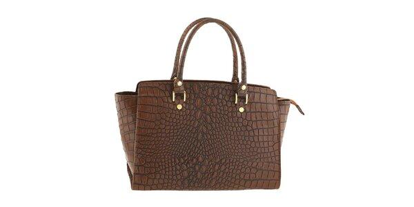 Dámská hnědá kožená kabelka se vzorem krokodýlí kůže Tina Panicucci