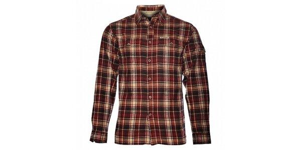 Pánská vínová kostkovaná flanelová košile Bushman