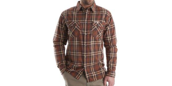 Pánská hnědá károvaná košile Bushman