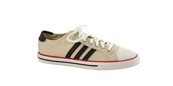 Pánské béžové plátěné tenisky Adidas s černými pruhy