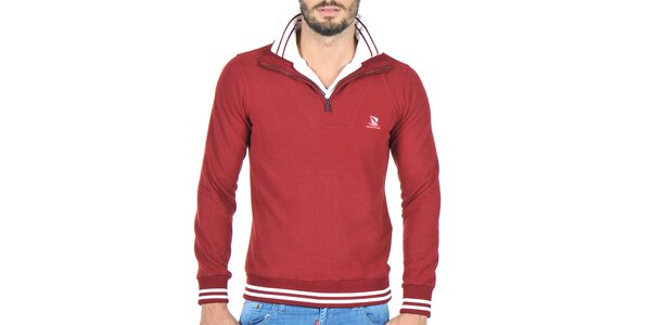 Pánský svetr se stojáčkem v barvě bordó Giorgio Di Mare
