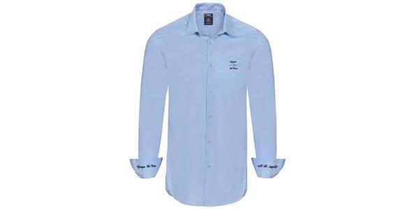 Pánská světle modrá košile s výšivkami Giorgio di Mare