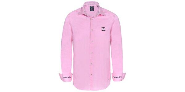 Pánská světle růžová košile s výšivkami Giorgio di Mare