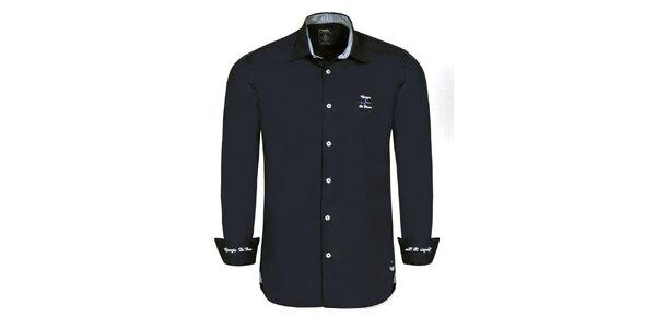 Pánská černá košile s bílými výšivkami Giorgio di Mare
