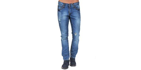 Pánské modré džíny s výrazným prošíváním Giorgio Di Mare