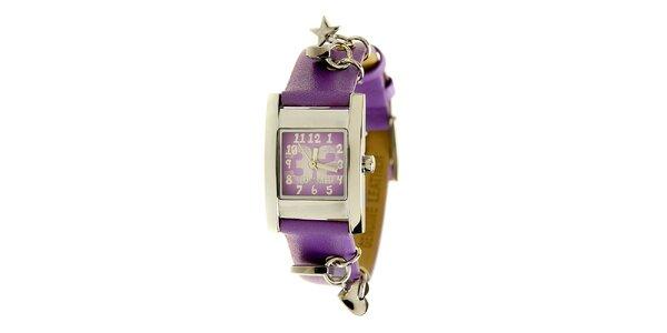 Dámské ocelové hodinky Mustang s fialovým řemínkem a přívěsky