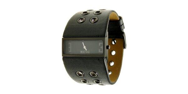 Dámské ocelové hodinky Mustang s černým širokým řemínkem